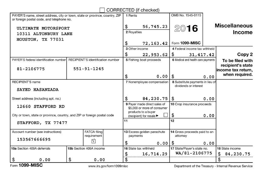 Tax Return – Novelty Document USA